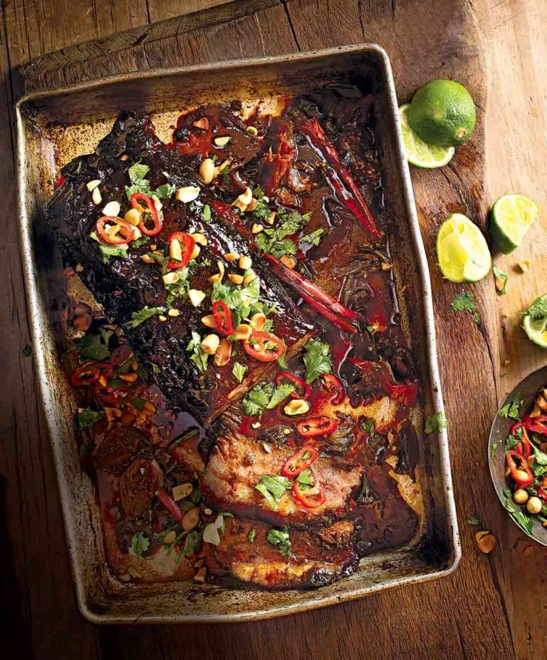 Spiced brisket with chilli, lime, peanut and coriander