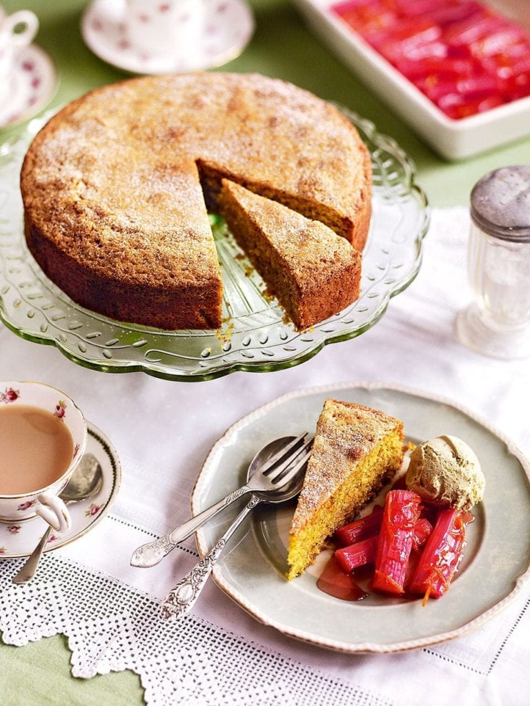 Roast rhubarb with pistachio cake
