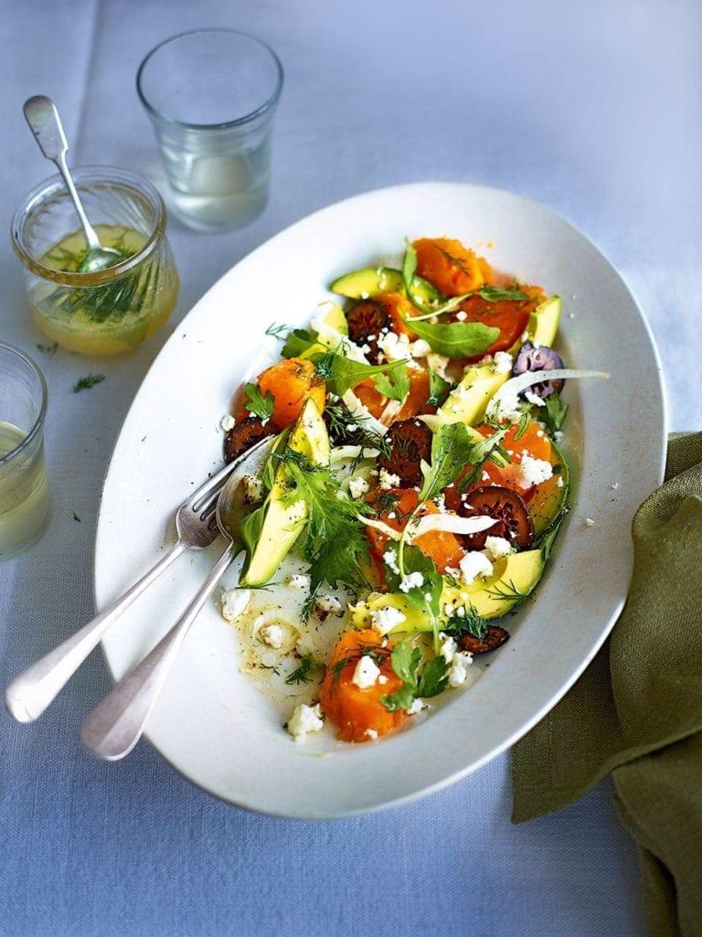 Sweet potato salad with avocado, feta and pickled walnuts