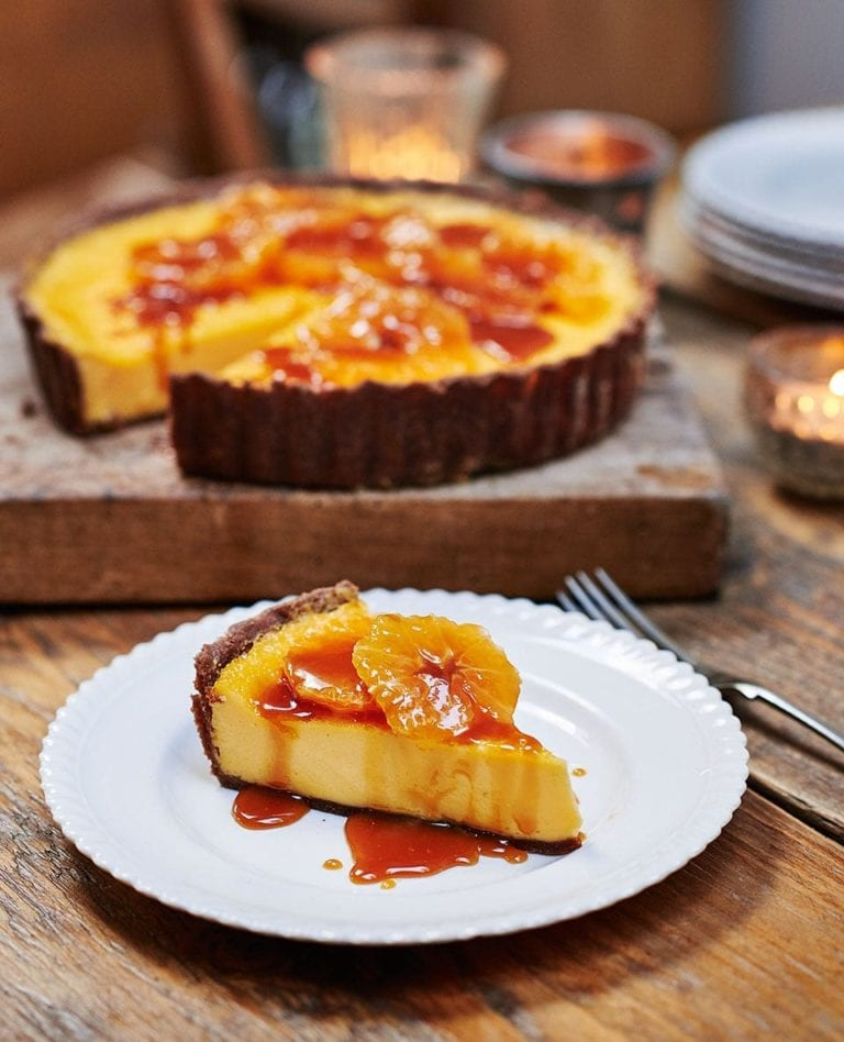 Chocolate and orange custard tart with caramel
