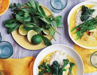 Chicken laksa with rice noodles