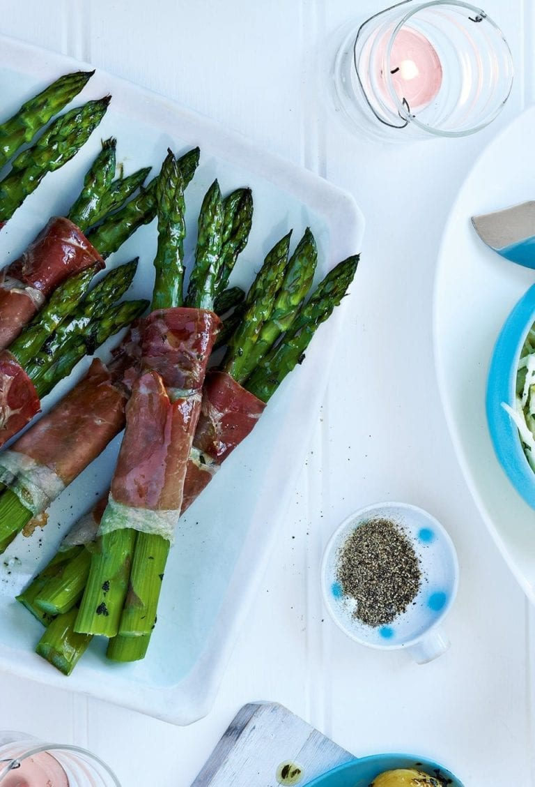 Roasted asparagus wrapped in Parma ham