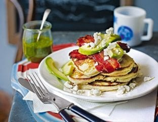 Fluffy American pancakes with bacon and avocado