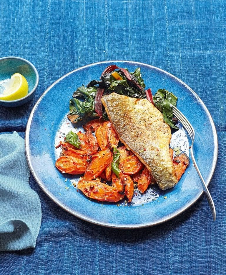 Pan-fried fish, spicy carrots and preserved lemon