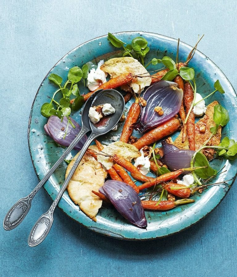 Warm roast carrot and goat's cheese salad