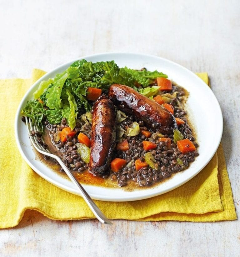 Balsamic sausages with puy lentils