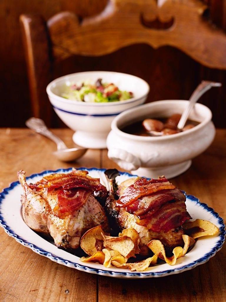 Roast partridge with caramelised balsamic shallot sauce
