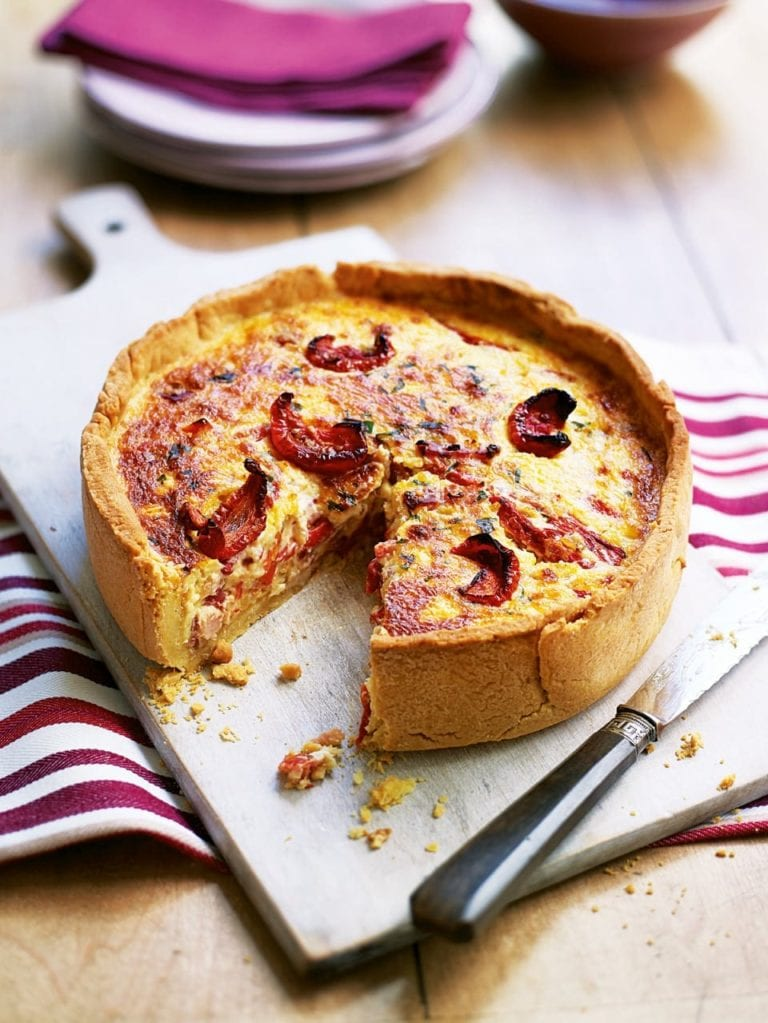 Cheddar quiche with smoked bacon, onion and roasted red pepper