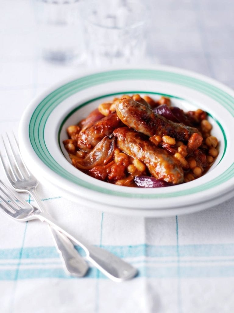 Roasted sausage casserole and beans