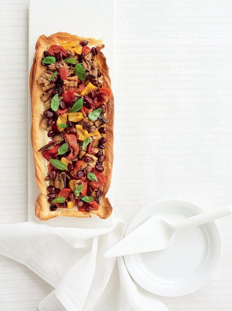 Ricotta and grilled vegetable tart