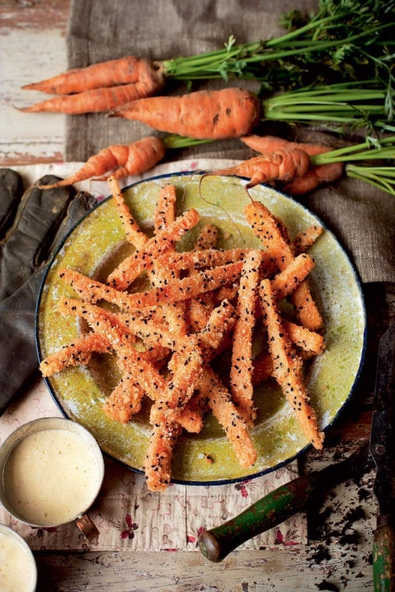 Crumbed carrots with hollandaise