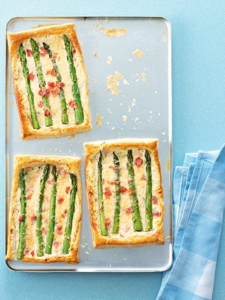 Cheat's asparagus, ham and cheese tart