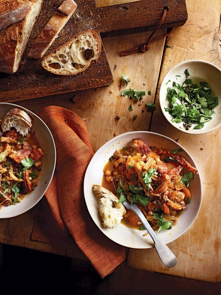 Pork shoulder and chorizo stew with sherry, crackling and capers