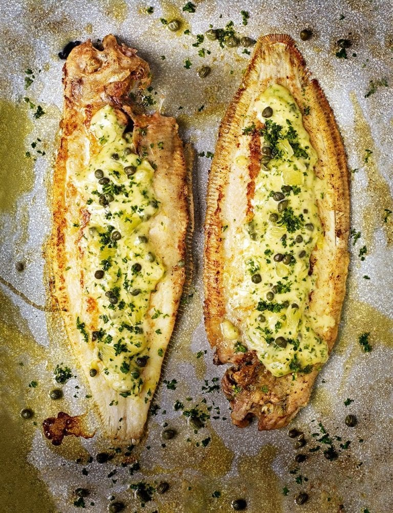Pan-fried dover sole with caper, lemon and parsley butter sauce