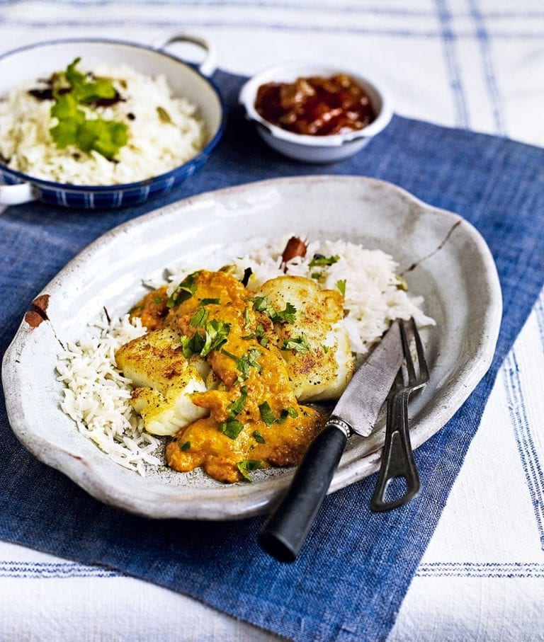 Roast cod with coconut curry sauce