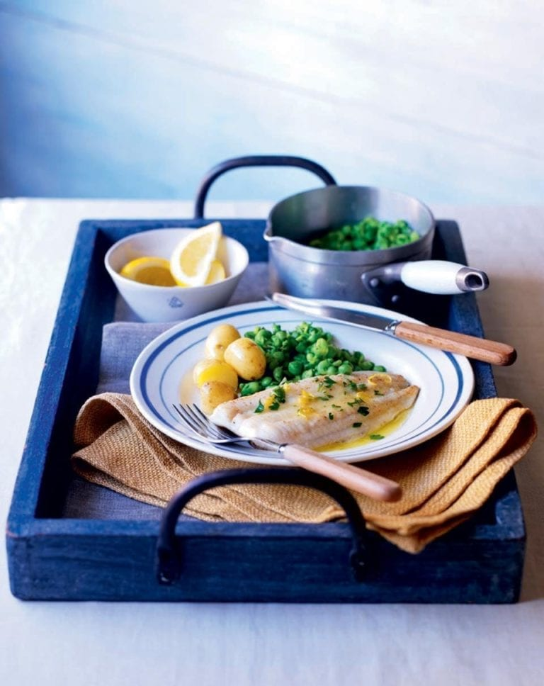 Lemon sole with lemon butter and peas