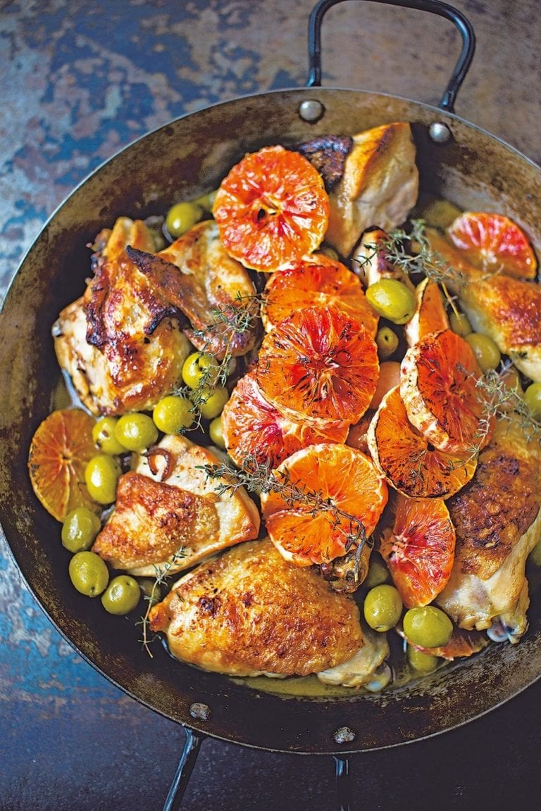 Diana Henry's chicken with marsala, olives and blood oranges