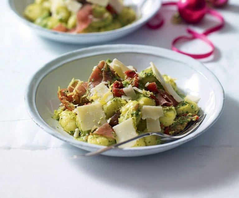Pesto, parmesan and Parma ham gnocchi