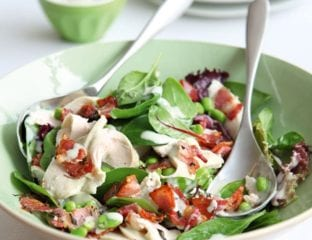 Chicken and bacon salad with blue cheese dressing