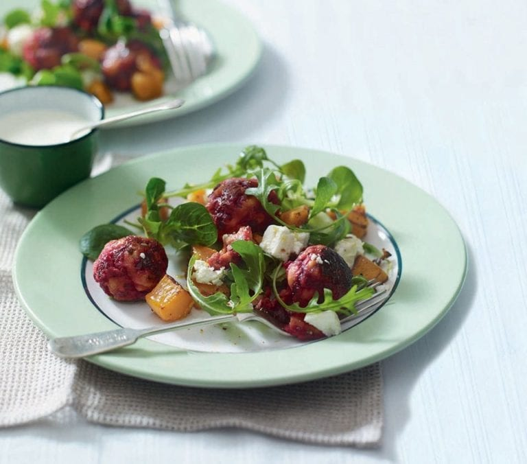 Chicken and beetroot meatball salad