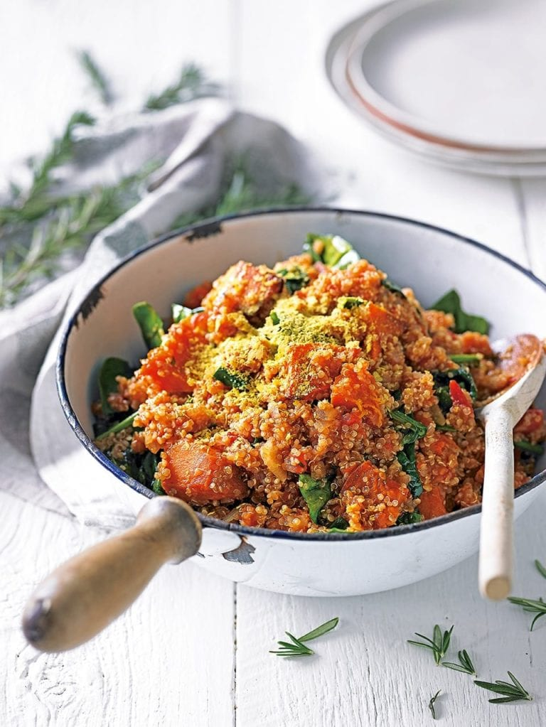 Quinoa risotto with pumpkin and spinach