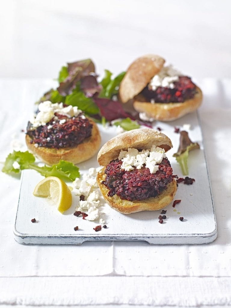Beetroot and lentil burgers