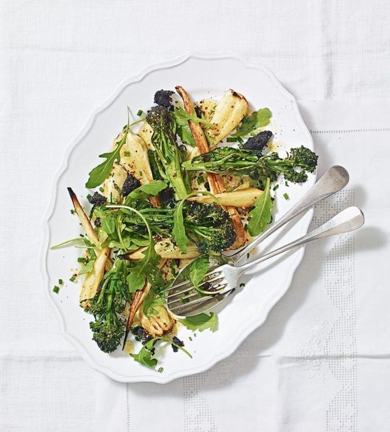 Roast purple sprouting broccoli, black pudding and parsnip salad