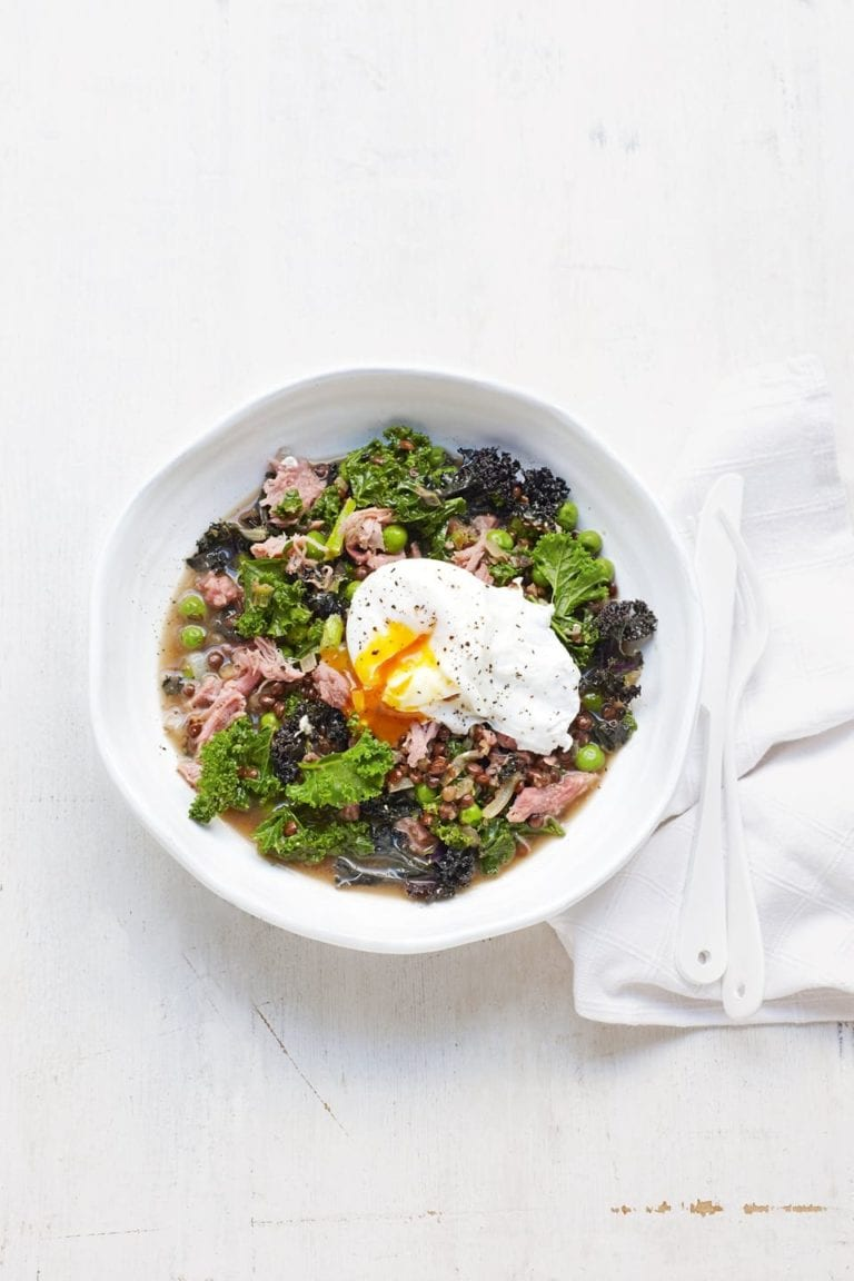 Lentils, ham hock and kale with poached eggs