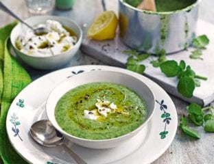 Watercress soup with labneh and spiced oil