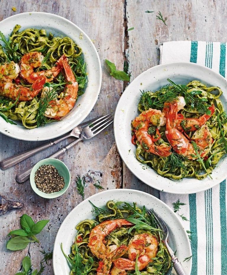 King prawn and herb-and-almond pesto pasta