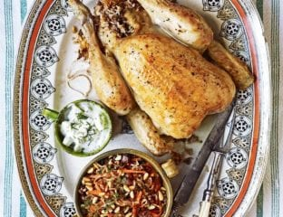 Lebanese roast chicken stuffed with rice, lamb and cinnamon