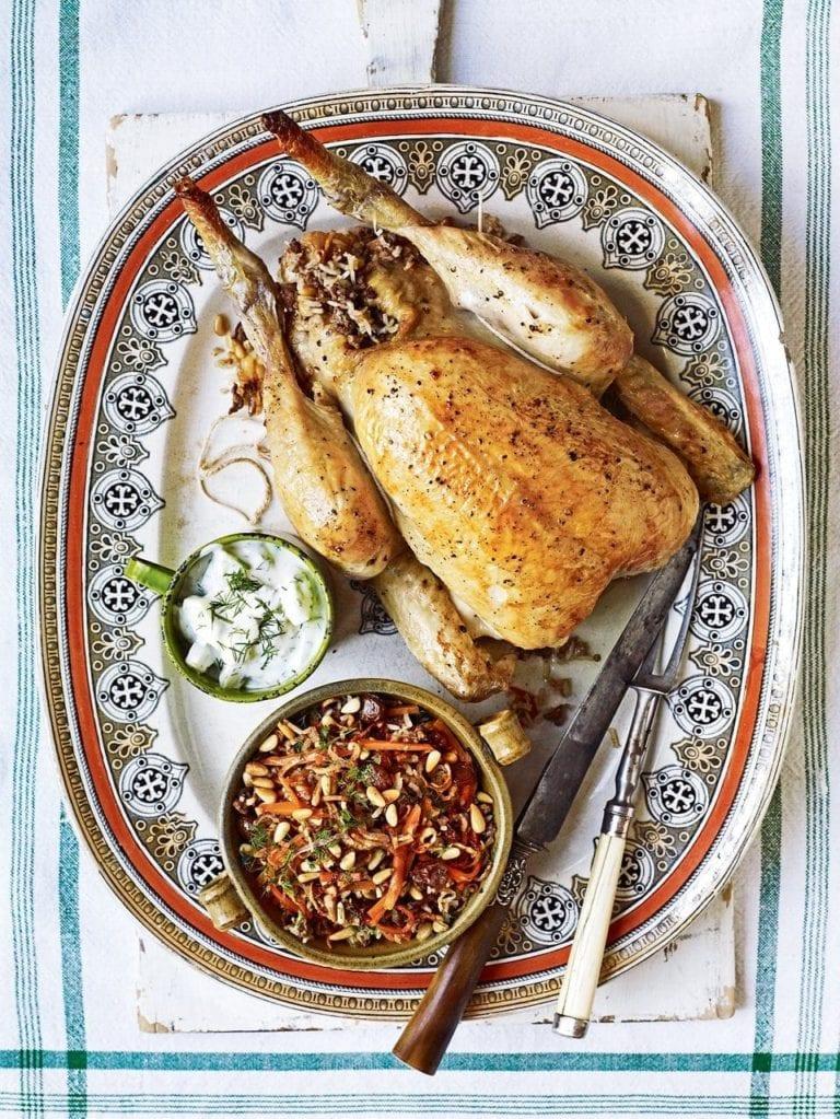 Lebanese roast chicken stuffed with rice, lamb and cinnamon