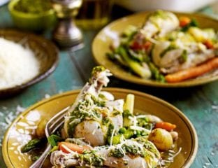 Poached chicken with spring vegetables and pistou