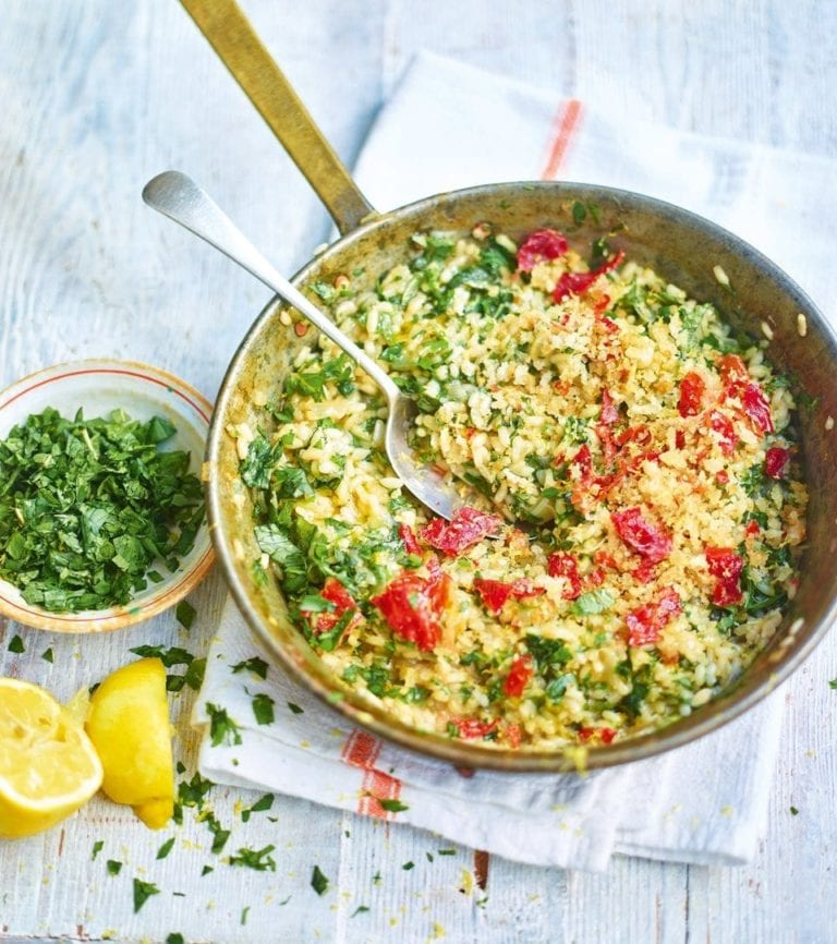 Herb and lemon risotto with parma ham crumbs