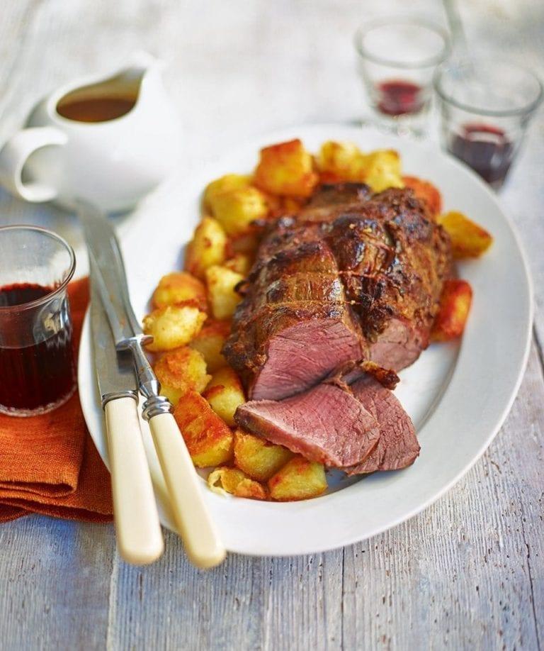 Roast topside of beef with roasties and gravy