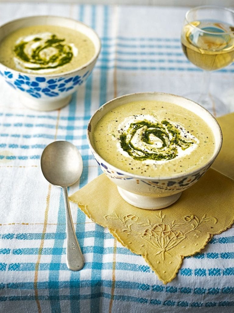 Chilled cucumber and almond soup with curry spices