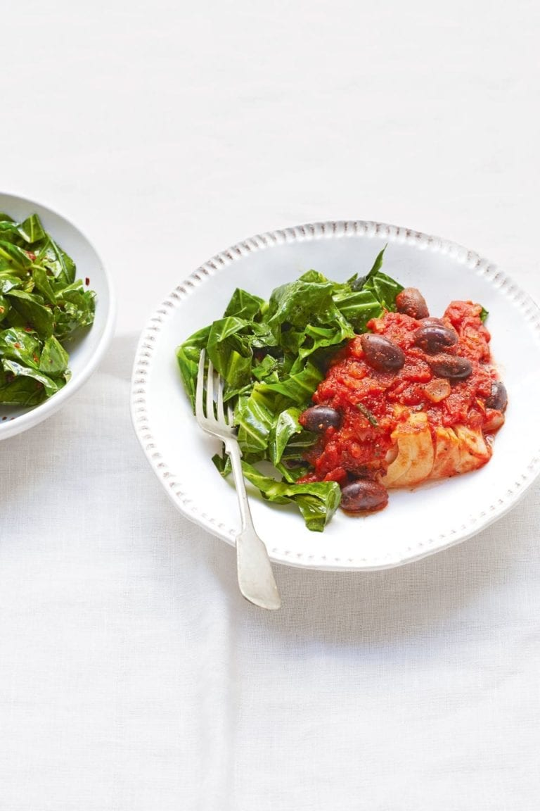 Tomato, olive and rosemary cod with stir-fried greens