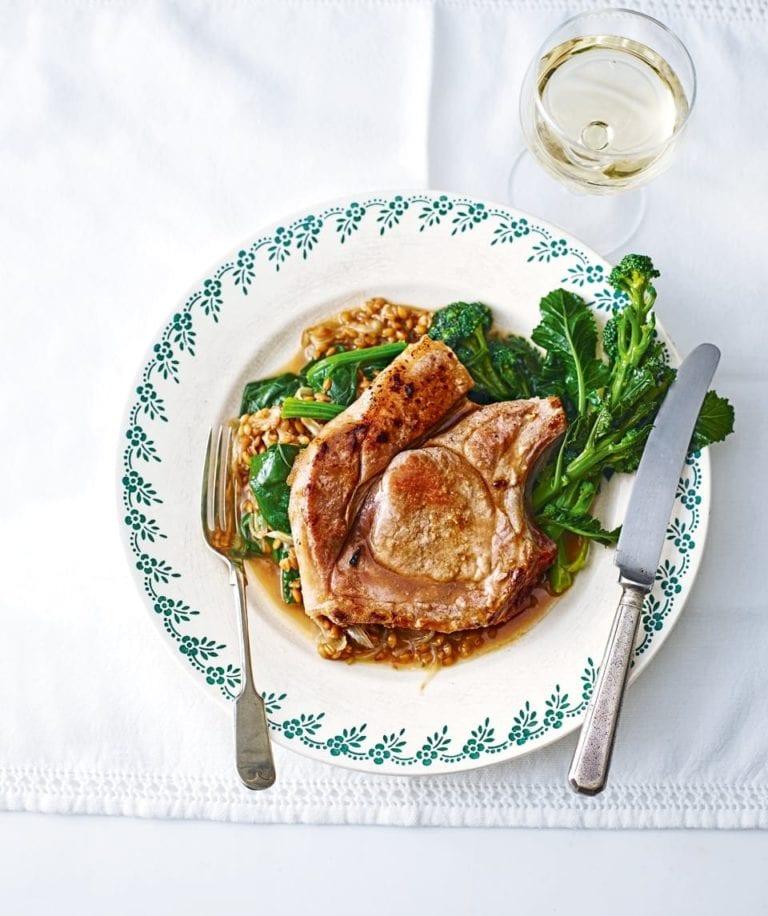 Pork chops with spelt, wild garlic and purple sprouting broccolli