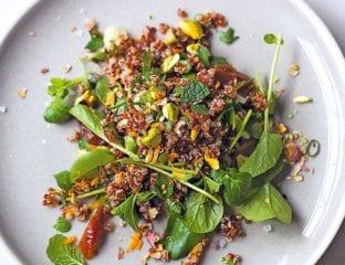 Orange-scented quinoa salad with pistachios and dates