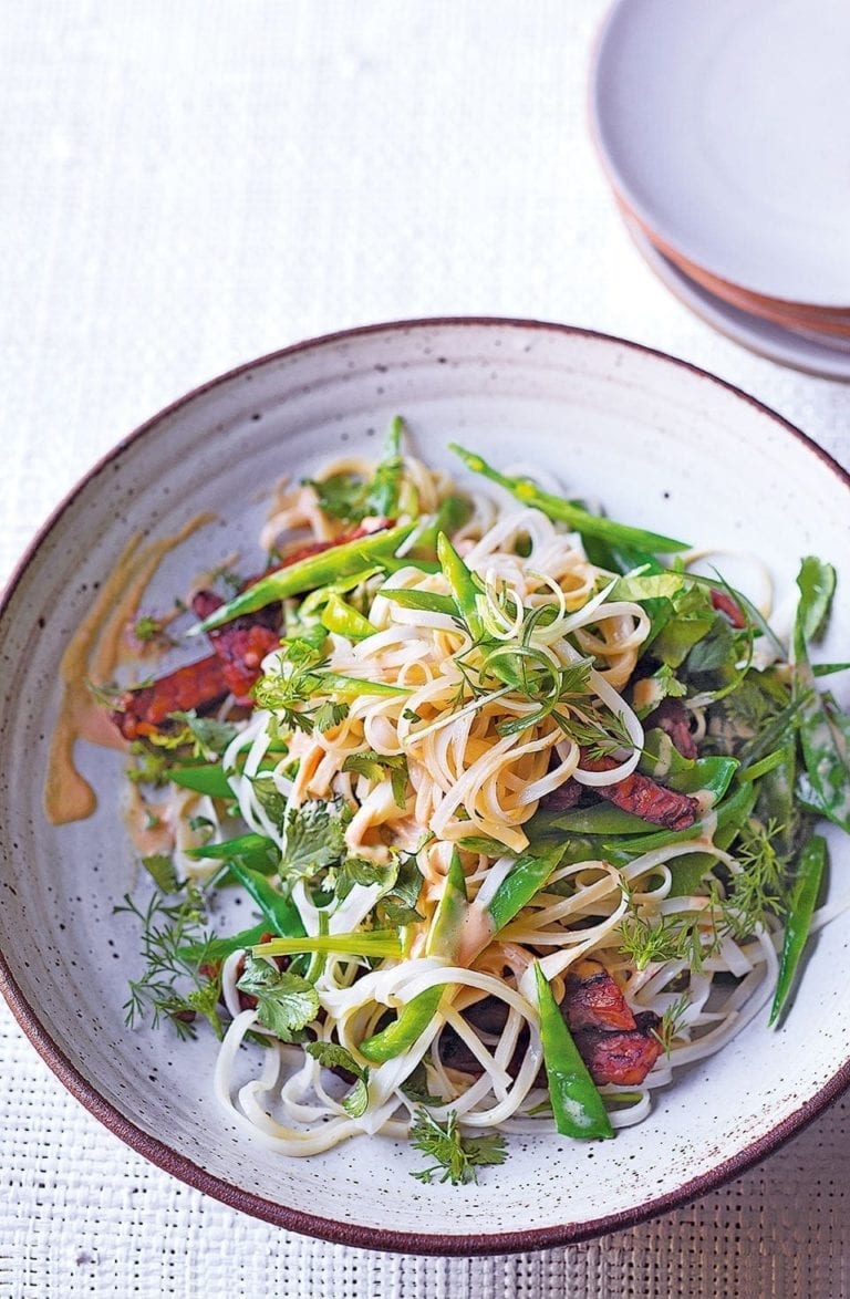 Marinated tempeh and sesame noodles