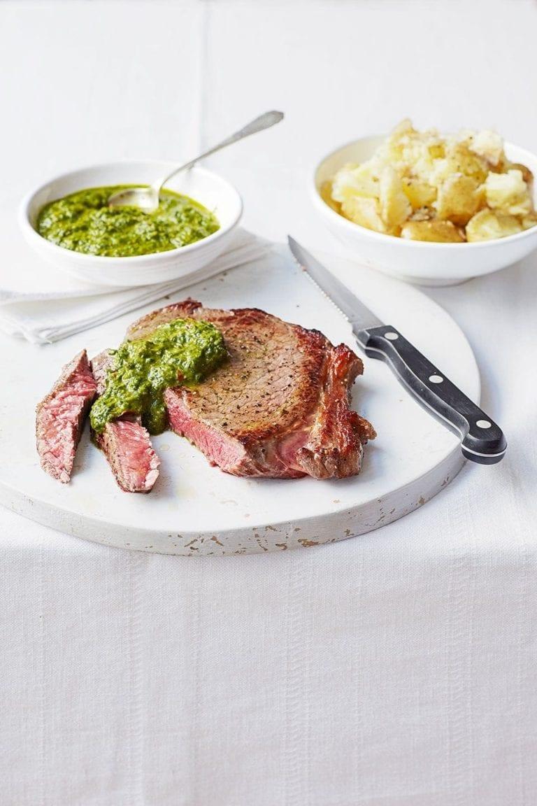 Chimichurri steak with smashed new potatoes