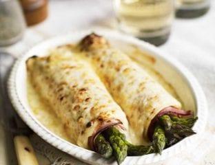 Asparagus and ham pancakes