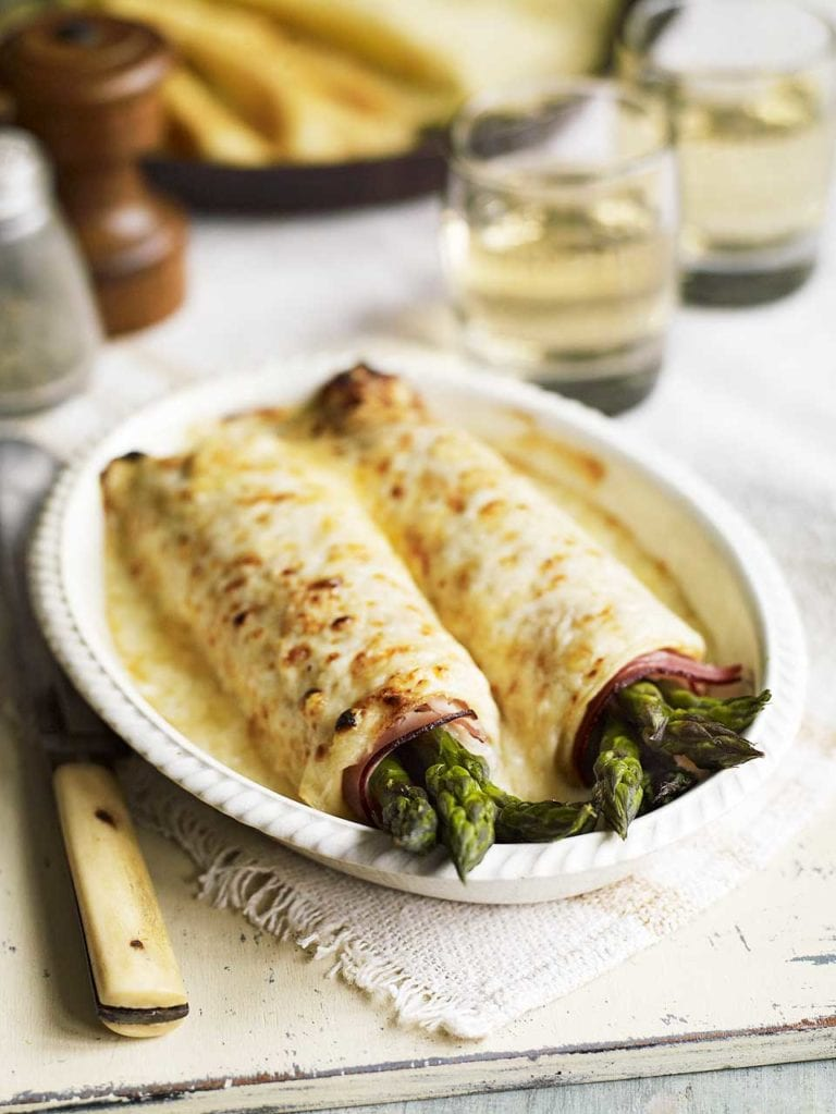 Asparagus and ham pancakes