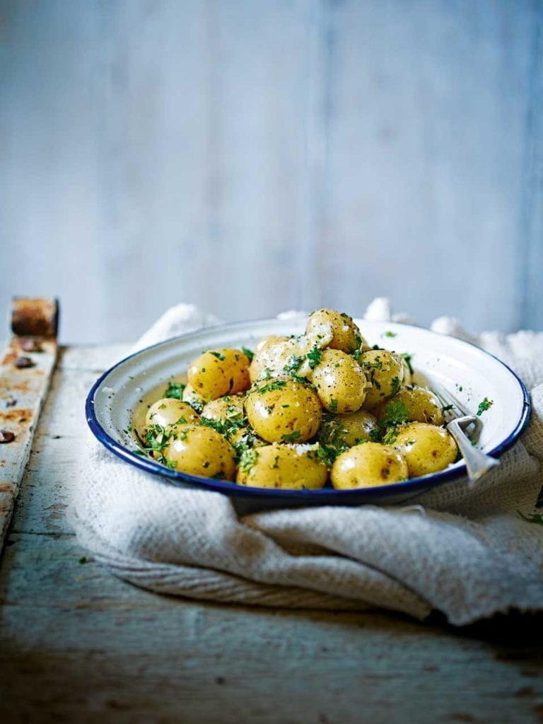 Jersey royals with butter and herbs