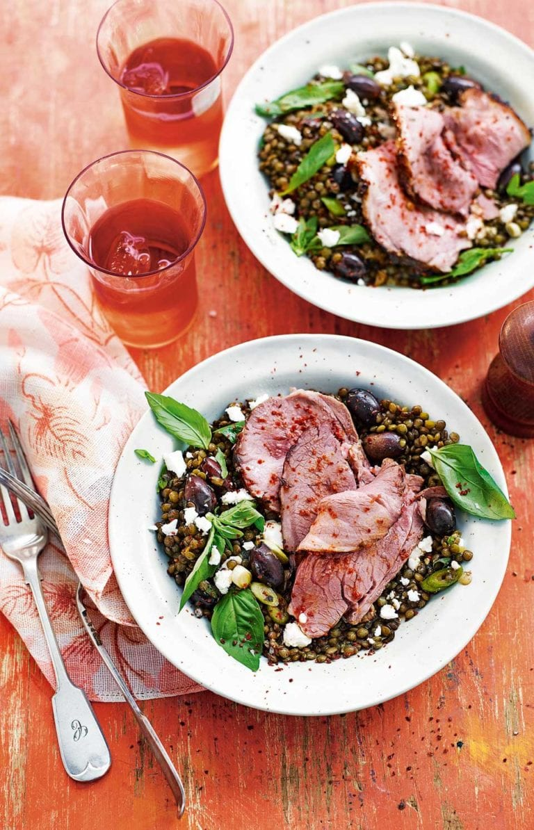 Thyme roast lamb with lentils, feta, olives and herbs