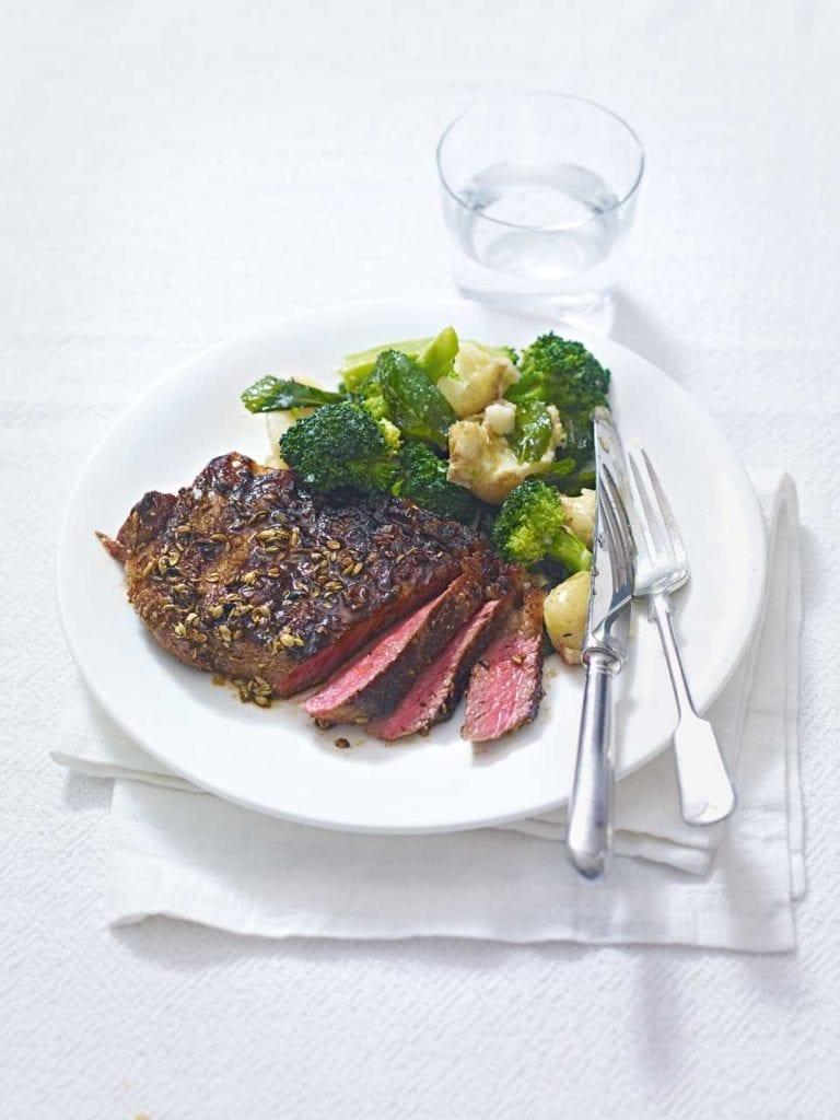 Spiced steak with lemony potatoes and broccoli