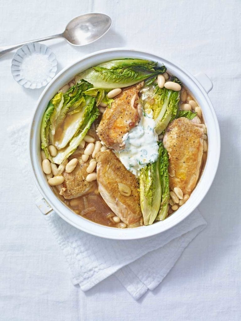 Chicken with beans, braised little gems and garlic yogurt