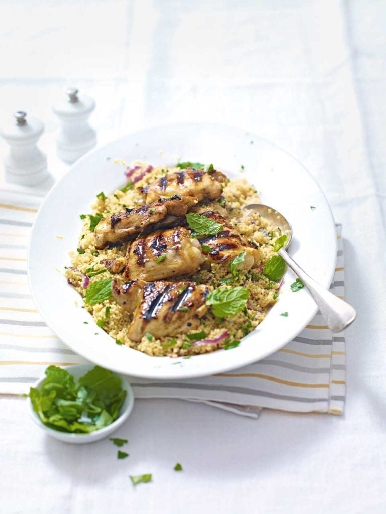Lemon and garlic chicken with couscous