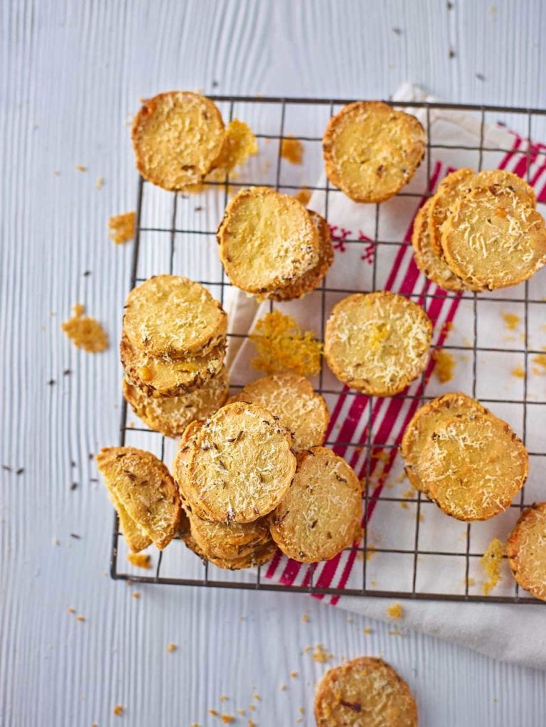 Roquefort, caraway and parmesan shortbreads