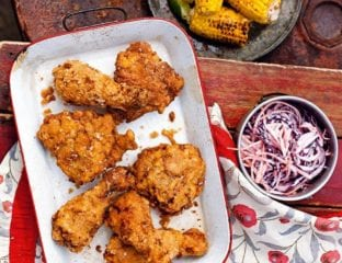 Southern-fried chicken with lime and chilli corn